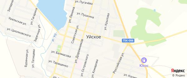 Карта Уйского села в Челябинской области с улицами и номерами домов