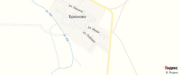 Улица Победы на карте деревни Брюхово Челябинской области с номерами домов