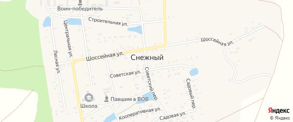 Шоссейная улица на карте Снежного поселка с номерами домов