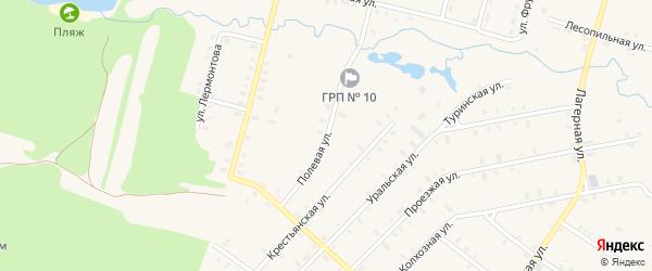 Полевая улица на карте деревни Ясьвы с номерами домов