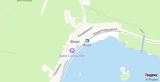 Карта поселка Флюс в Первоуральске с улицами, домами и почтовыми отделениями со спутника онлайн