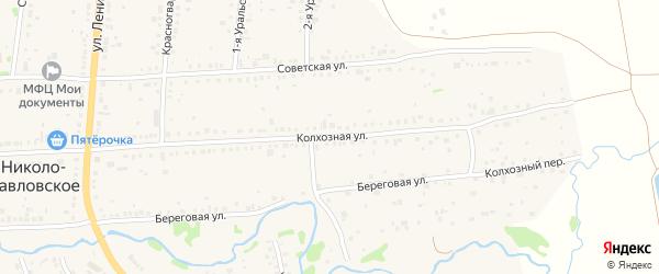 Колхозная улица на карте Николо-Павловского села Свердловской области с номерами домов
