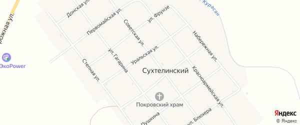 Красноармейская улица на карте Сухтелинского поселка с номерами домов