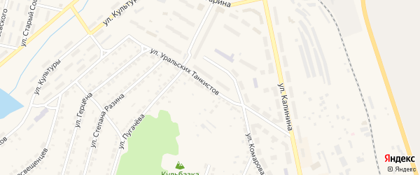 Улица Уральских Танкистов на карте Дегтярска с номерами домов