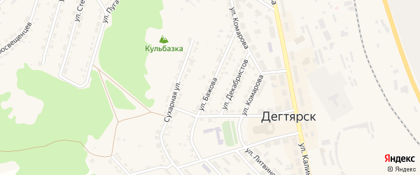 Улица Бажова на карте Дегтярска с номерами домов