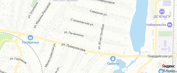 Улица Печенкина на карте Миасса с номерами домов