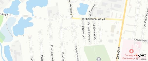 Кирпичная улица на карте Миасса с номерами домов