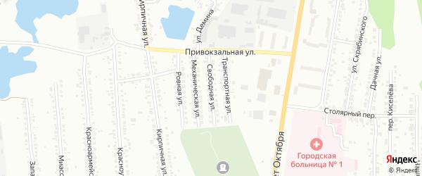Свободная улица на карте Миасса с номерами домов