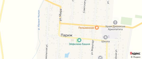 Пионерская улица на карте села Парижа с номерами домов