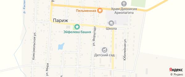 Улица Парижское лесничество на карте села Парижа Челябинской области с номерами домов
