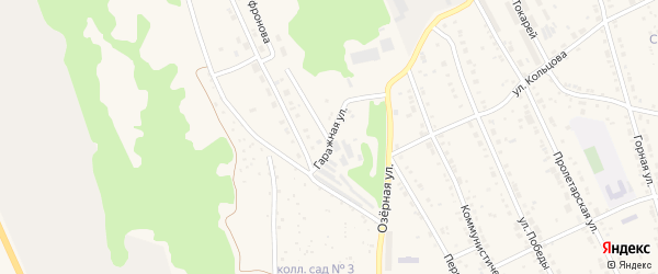 Гаражная улица на карте Дегтярска с номерами домов