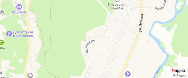 Хвойная улица на карте поселка Тургояка с номерами домов