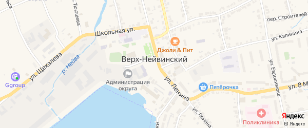 Солнечный переулок на карте Верх-Нейвинского поселка Свердловской области с номерами домов