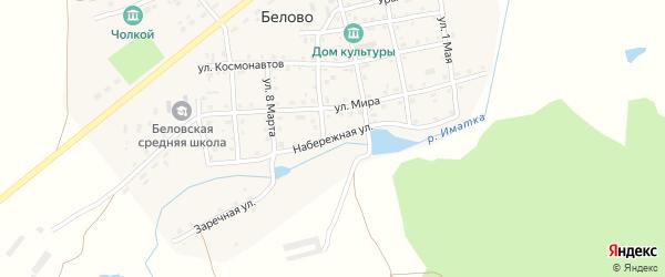 Набережная улица на карте села Белово Челябинской области с номерами домов