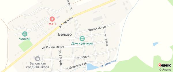 Улица Победы на карте села Белово Челябинской области с номерами домов