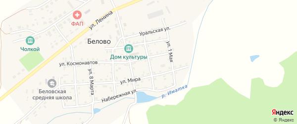 Улица Островского на карте села Белово Челябинской области с номерами домов