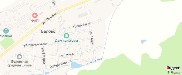 1 Мая улица на карте села Белово Челябинской области с номерами домов