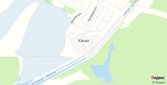Карта поселка Канал в Первоуральске с улицами, домами и почтовыми отделениями со спутника онлайн
