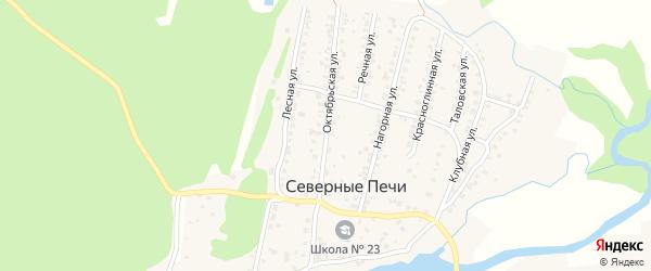 Октябрьская улица на карте поселка Северные Печи с номерами домов