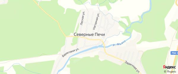 Карта поселка Северные Печи города Миасса в Челябинской области с улицами и номерами домов