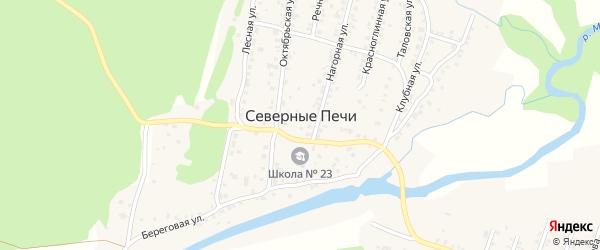 Клубничная улица на карте поселка Северные Печи с номерами домов