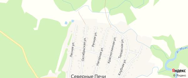 Речная улица на карте поселка Северные Печи с номерами домов