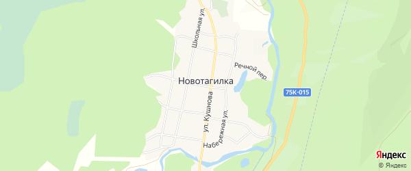 Карта поселка Новотагилки города Миасса в Челябинской области с улицами и номерами домов