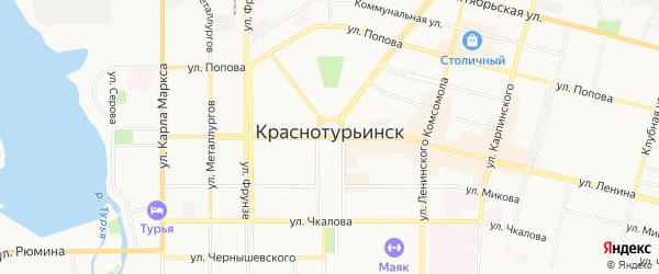 Территория СТ Брусничный на карте Краснотурьинска с номерами домов