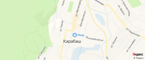 Карта поселка Мухаметово города Карабаша в Челябинской области с улицами и номерами домов