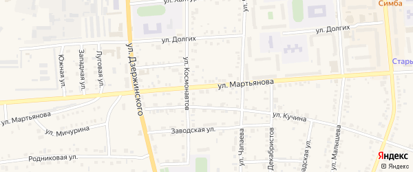 Улица Мартьянова на карте Невьянска с номерами домов