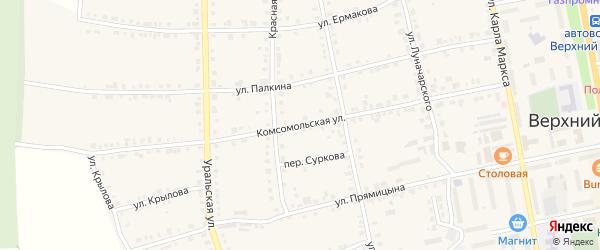 Комсомольская улица на карте Верхнего Уфалея с номерами домов