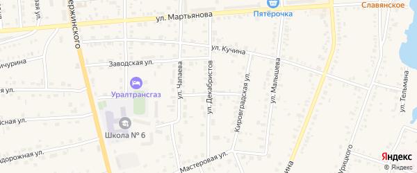 Улица Декабристов на карте Невьянска с номерами домов