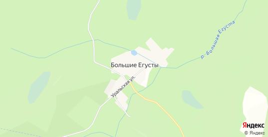 Карта поселка Большие Егусты в Кыштыме с улицами, домами и почтовыми отделениями со спутника онлайн