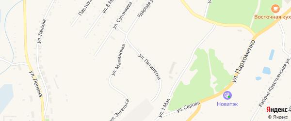Улица Пятилетки на карте Карабаша с номерами домов