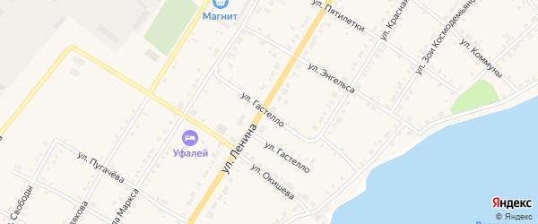 Улица Гастелло на карте Верхнего Уфалея с номерами домов