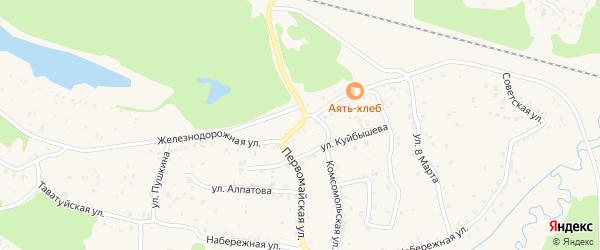 Железнодорожная улица на карте поселка Аяти Свердловской области с номерами домов
