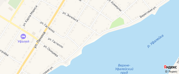 Береговая улица на карте Верхнего Уфалея с номерами домов