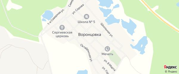 Карта поселка Воронцовки города Краснотурьинска в Свердловской области с улицами и номерами домов