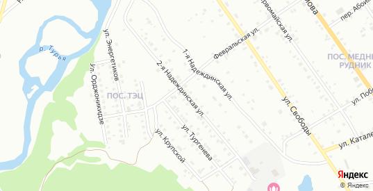 Надеждинская улица в Краснотурьинске с номерами домов на карте. Спутник и схема онлайн