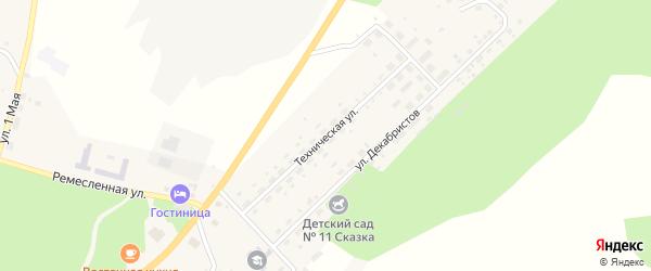 Техническая улица на карте Карабаша с номерами домов