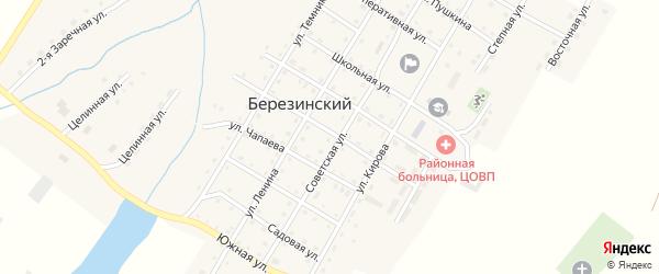 Улица Красильникова на карте Березинского поселка Челябинской области с номерами домов