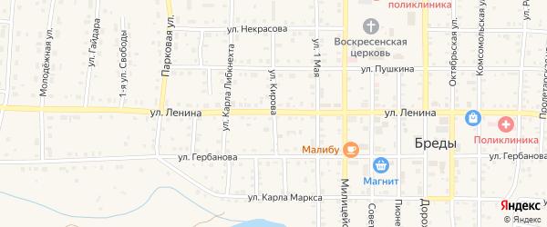 Улица Кирова на карте поселка Бредов с номерами домов