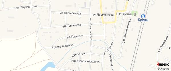 Улица Горького на карте поселка Бредов с номерами домов