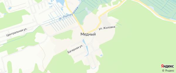 Карта Медного поселка города Екатеринбурга в Свердловской области с улицами и номерами домов