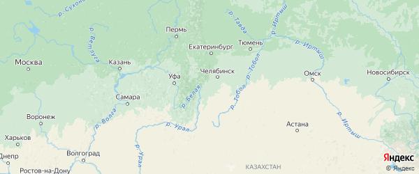 Карта Челябинской области с городами и районами