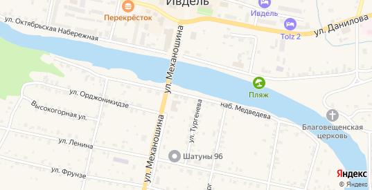 Улица Набережная Медведева в Ивделе с номерами домов на карте. Спутник и схема онлайн