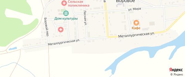 Металлургическая улица на карте Борового села с номерами домов