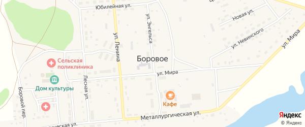 Целинная улица на карте Борового села с номерами домов
