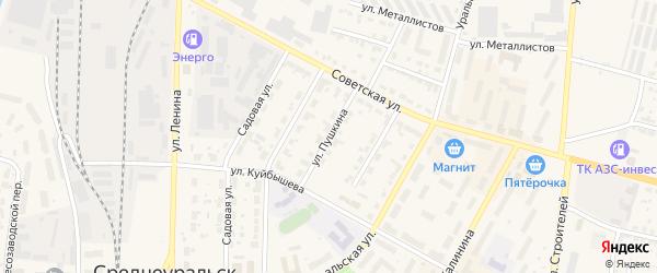 Улица Пушкина на карте Среднеуральска с номерами домов
