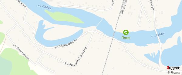 Улица Максима Горького на карте поселка Лобва Свердловской области с номерами домов